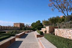 Almeria. Alcazaba - fortified Moorish castle on a hill in Almeria, Andalusia, Spain. Famous gardens Royalty Free Stock Image