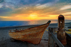 Almeria Cabo de Gata beached boats in the beach Royalty Free Stock Images