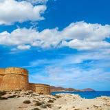 Almeria Cabo de Gata fortress Los Escullos beach Royalty Free Stock Photography