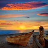 Almeria Cabo de Gata ha tirato le barche in secco nella spiaggia Fotografia Stock