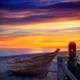 Almeria Cabo de Gata ha tirato le barche in secco nella spiaggia Fotografia Stock Libera da Diritti