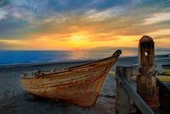 Almeria Cabo de Gata ha tirato le barche in secco nella spiaggia Immagini Stock Libere da Diritti