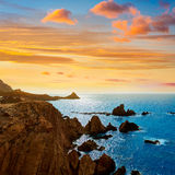 Almeria Cabo de Gata las Sirenas point rocks Royalty Free Stock Photos