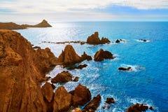 Almeria Cabo de Gata las Sirenas point rocks Stock Photography