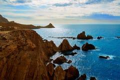 Almeria Cabo de Gata las Sirenas point rocks Royalty Free Stock Photo