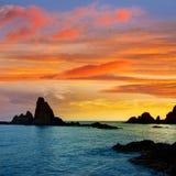 Almeria Cabo de Gata las Sirenas sunset Stock Photography