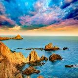 Almeria Cabo de Gata las Sirenas sunset Stock Photos