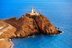 Almeria Cabo de Gata lighthouse Mediterranean Spain. Almeria Cabo de Gata lighthouse aerial in Mediterranean sea of Spain Stock Images