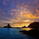 Almeria Cabo de Gata lighthouse sunset in Spain Royalty Free Stock Photography
