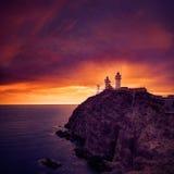 Almeria Cabo de Gata lighthouse sunset in Spain Stock Photo