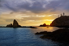 Almeria Cabo de Gata lighthouse sunset in Spain Stock Photography