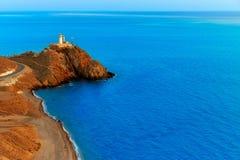 Almeria Cabo de Gata lighthouse sunset in Spain Stock Image