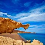 Almeria Cabo de Gata Playa del Arco-boogstrand stock foto