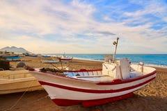 Almeria Cabo de Gata San Miguel beach boats Royalty Free Stock Images