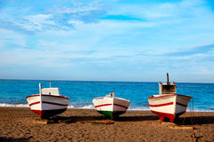 Almeria Cabo de Gata San Miguel beach boats Stock Photo