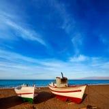 Almeria Cabo de Gata San Miguel beach boats Stock Images