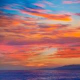 Almeria Cabo de Gata sunset in Mediterranean Stock Photography