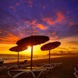 Almeria Cabo de Gata sunset in Retamar beach Stock Photography