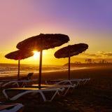 Almeria Cabo de Gata sunset in Retamar beach Royalty Free Stock Photography