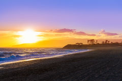 Almeria Cabo de Gata sunset in Retamar beach Stock Photos
