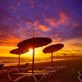 Almeria Cabo de Gata sunset in Retamar beach Royalty Free Stock Images
