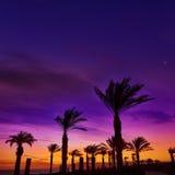 Almeria Cabo de Gata sunset in Retamar beach Stock Photos
