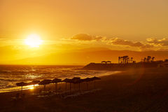 Almeria Cabo de Gata sunset in Retamar beach Royalty Free Stock Image