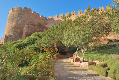 Almeria castle. Alcazaba, an old muslim construction in Almeria, Spain Royalty Free Stock Images