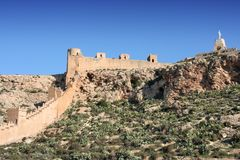 Almeria castle. (Alcazaba fortress) - medieval landmark of Andalusia, Spain Royalty Free Stock Photography