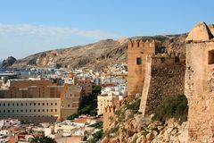 Almeria city. Almeria castle (Alcazaba fortress) and city view in Andalusia, Spain Royalty Free Stock Photo