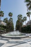 Almeria City Center With Fountain, Andalucia Spain Royalty Free Stock Image