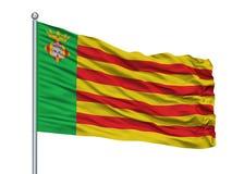 Almeria City Flag On Flagpole, Espanha, isolada no fundo branco ilustração royalty free