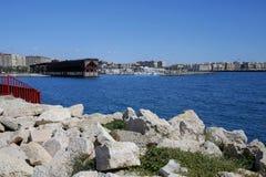 Almeria con cavo Ingles ed il porto, Spagna Immagine Stock