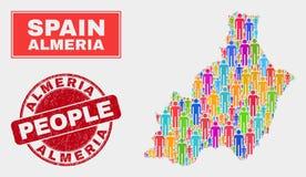 Almeria Province Map Population Demographics e selo de borracha ilustração do vetor