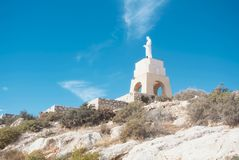 ALMERIA, SPAIN - FEBRUARY 11, 2016: Statue of the Sacred Heart o. F Jesus at the San Cristobal hill in Almeria; Andalusia; Spain Stock Photography