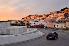 Residential neighborhood and driveway in Almeria Spain stock images
