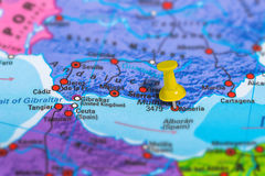 Almeria Spain map. Almeria in Spain pinned on colorful political map of Europe. Geopolitical school atlas. Tilt shift effect Stock Photos