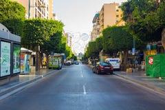 Almeria Spain September 1, 2014: vie e viali moderni della t Immagini Stock Libere da Diritti