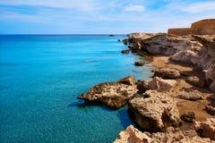 Almeria in spiaggia Spagna di Cabo de Gata Los Escullos Fotografia Stock