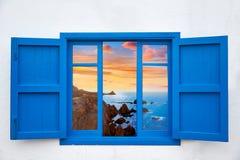 Almeria view from blue window of Cabo de Gata Stock Photos