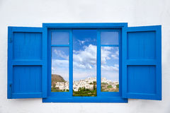 Almeria view from blue window of Mojacar Royalty Free Stock Photo
