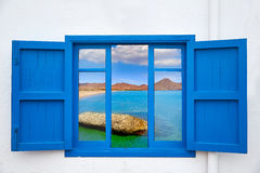 Almeria view from window of Cabo de Gata beach Royalty Free Stock Images
