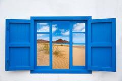 Almeria view from window of Cabo de Gata beach Stock Image