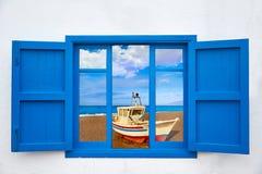 Almeria view from window of Cabo de Gata beach Stock Photos