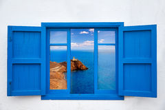 Almeria from window of Cabo de Gata lighthouse Royalty Free Stock Photos