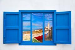 Almeria window of Cabo de Gata Salinas church Stock Photography
