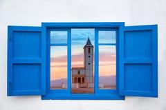 Almeria window of Cabo de Gata Salinas church Stock Image