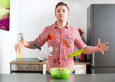 Almighty cooking magician. Men in kitchen Royalty Free Stock Photography