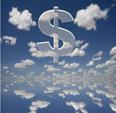 Almighty Dollar. Large dollar symbol with clouds Royalty Free Stock Photos