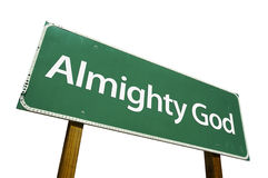 Almighty God road sign. Isolated on a white background. Contains Clipping Path Royalty Free Stock Photo